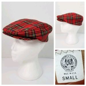 Vintage Union Made S Red Plaid Cabbie Driver's Cap